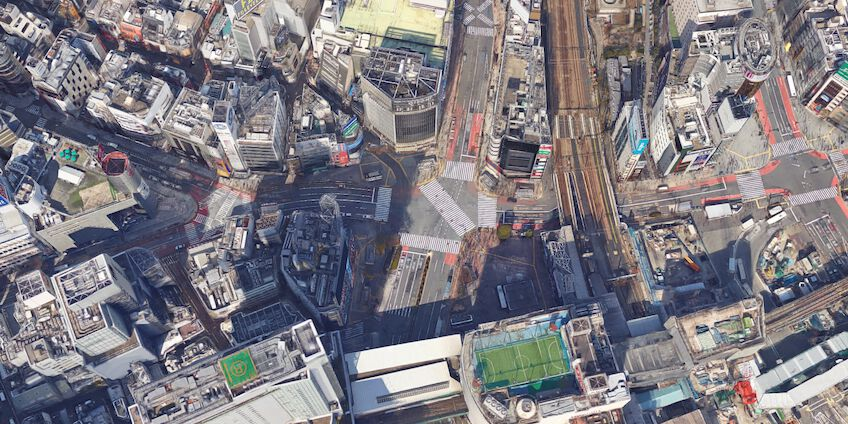 Satellite image of the Shibuya Crossing