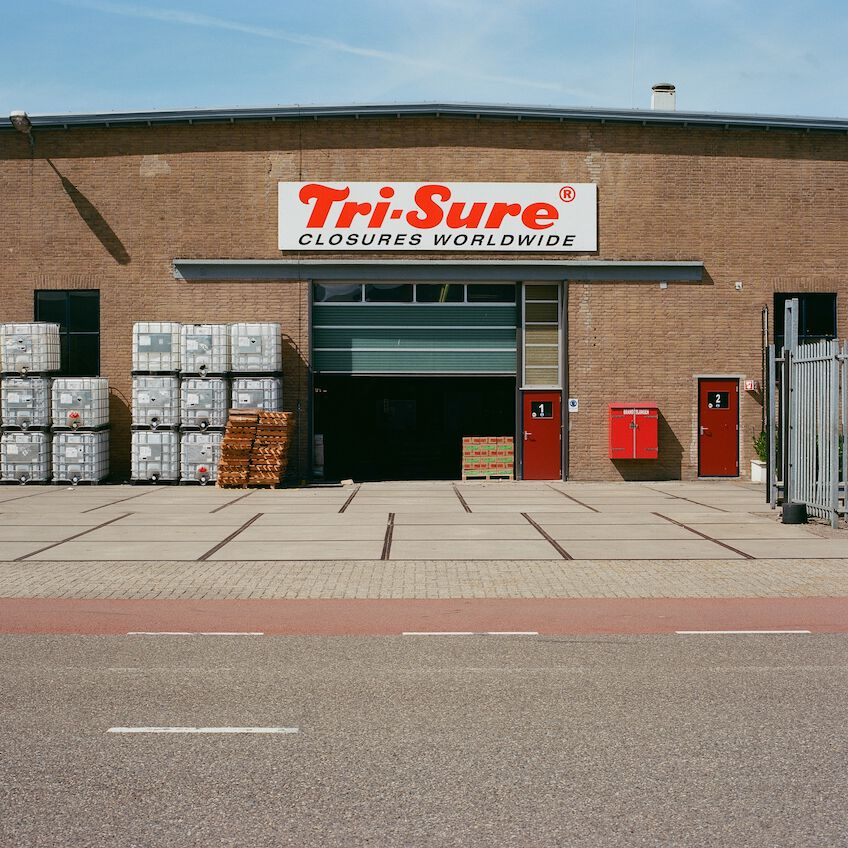 Open garage of a company called Tri-Sure