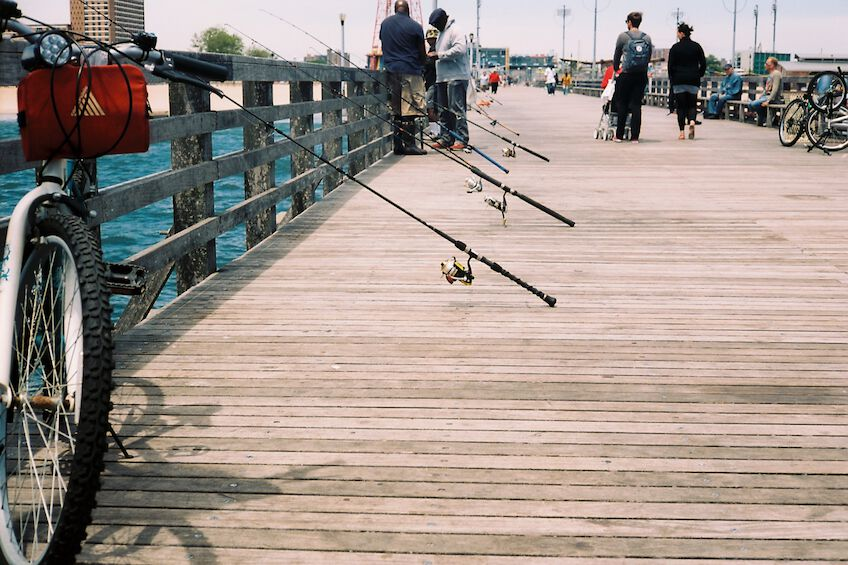 Fishing rods leaning against the pier fence