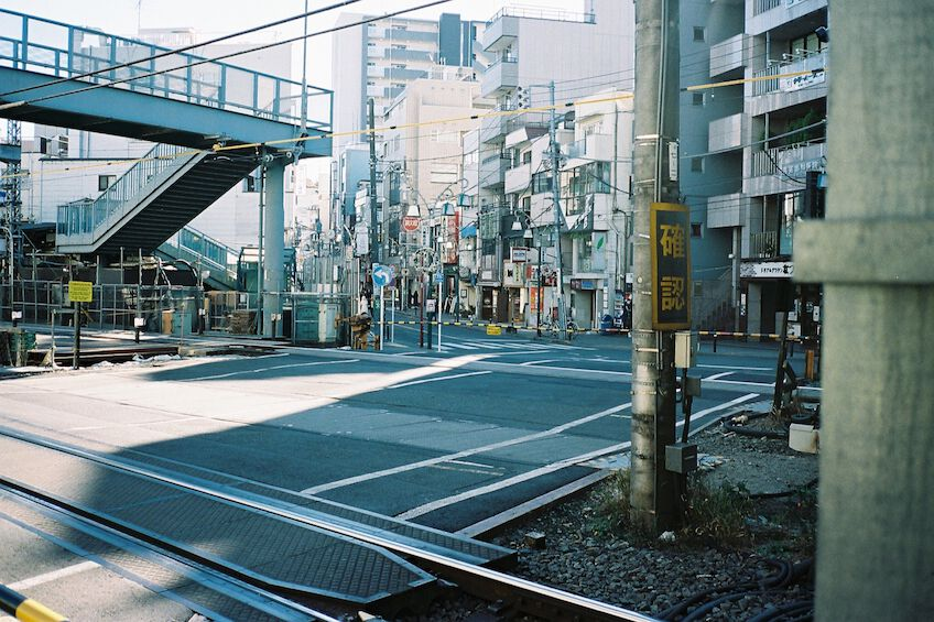 Rail crossing with an overpass in Tokyo