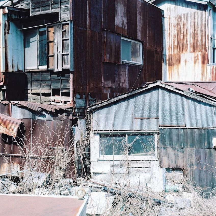 Shacks covered with rust