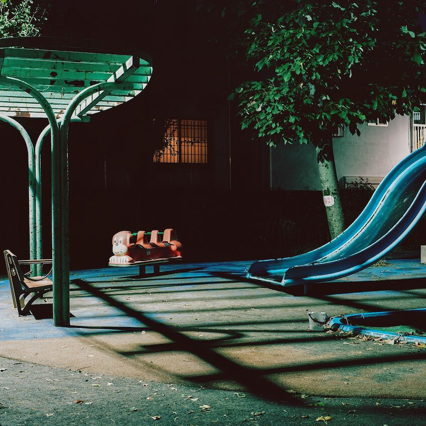Empty playground in Tokyo at night