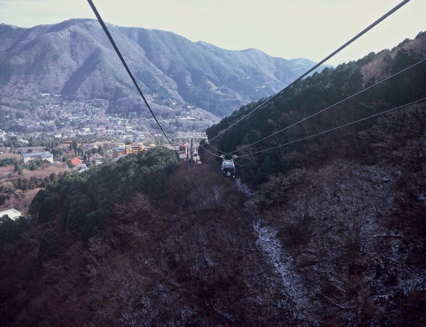 Photo from the ropeway of another car passing by