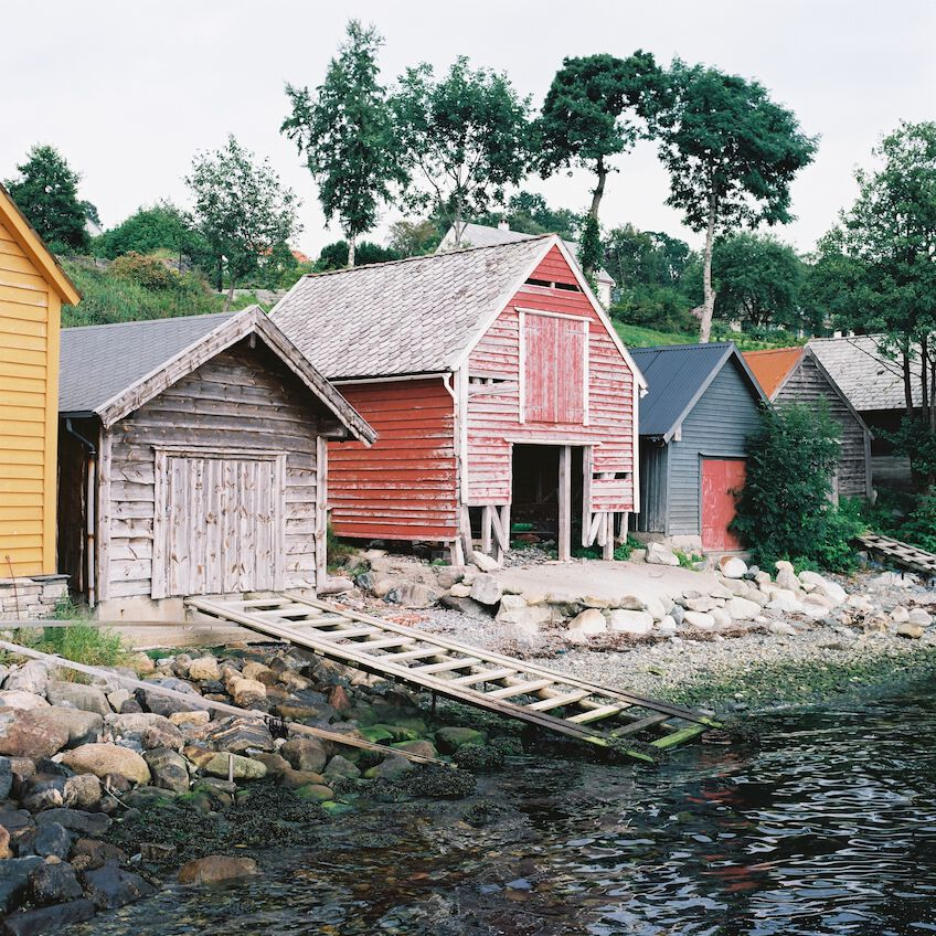 Huts on the shore in strong colors