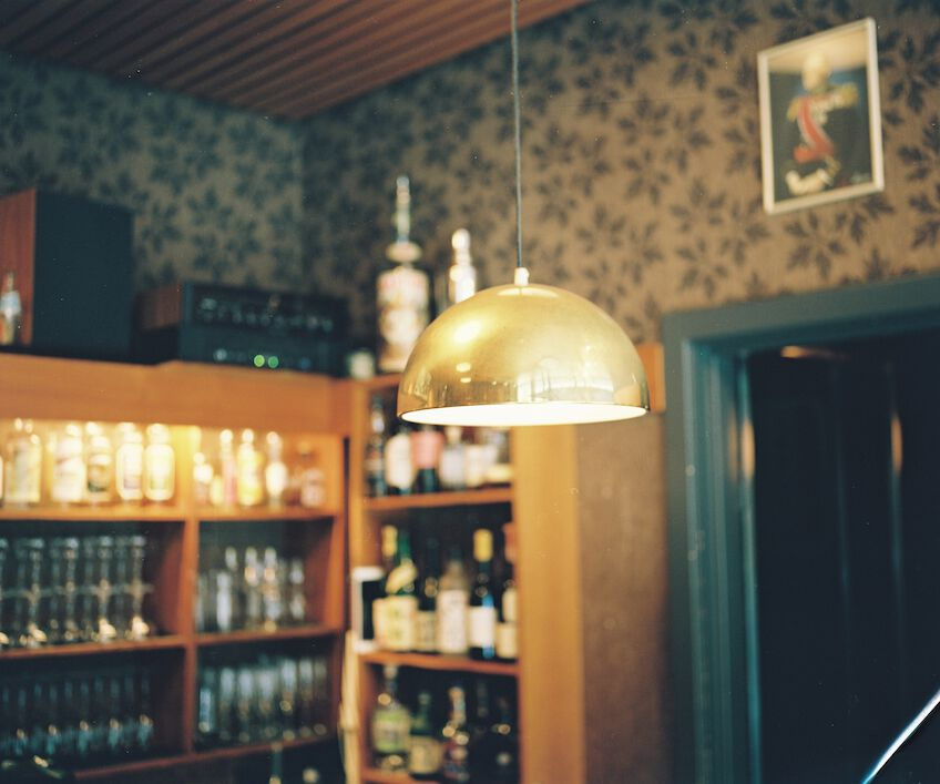 Hanging lamp in Cafe Fuglen in Oslo