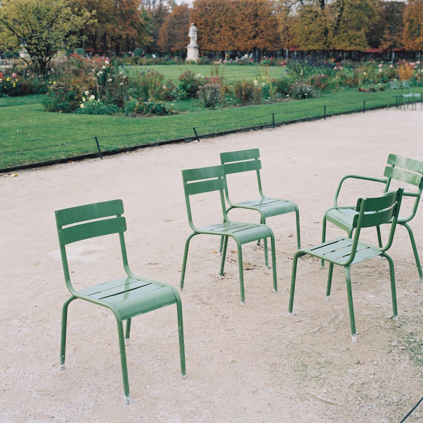 Empty chairs in a park