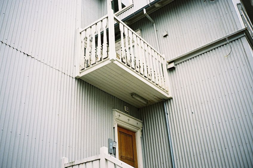 White painted balcony