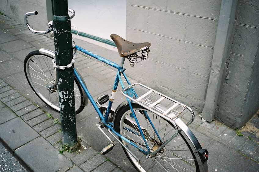 Bike locked to a pole