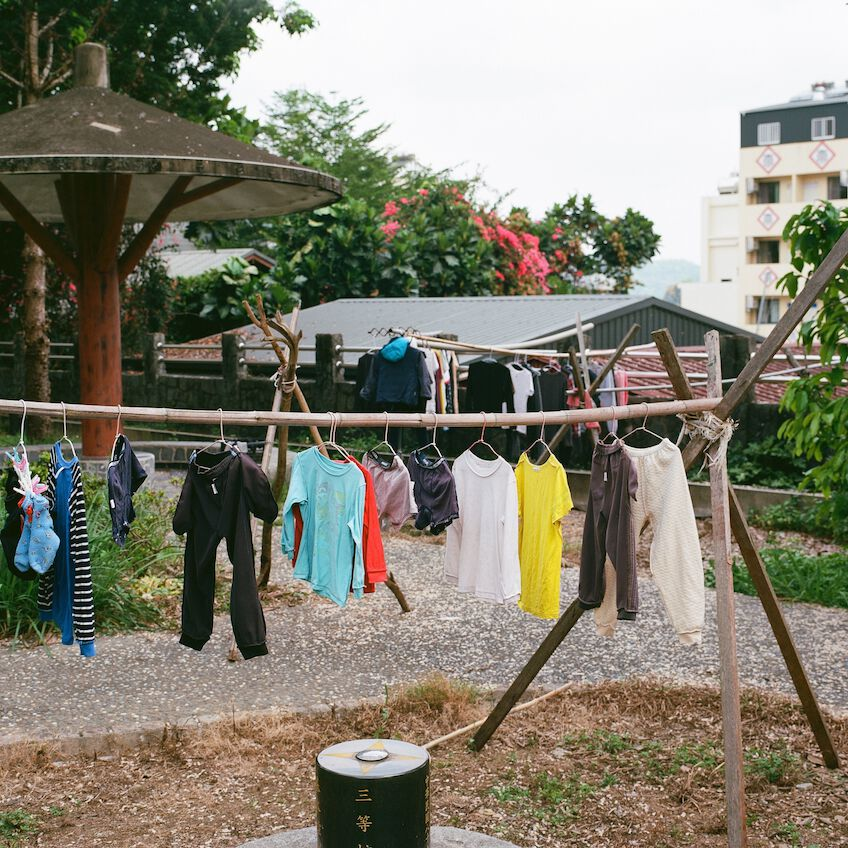 Hanging clothes in a garden