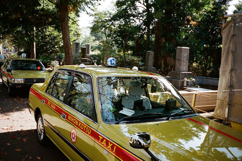 Parking cabs at Yanaka cemetary